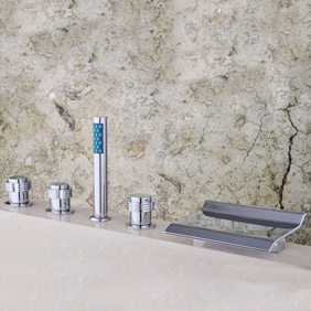 Contemporary Two Handles Waterfall Brass Tub Tap T001-15
