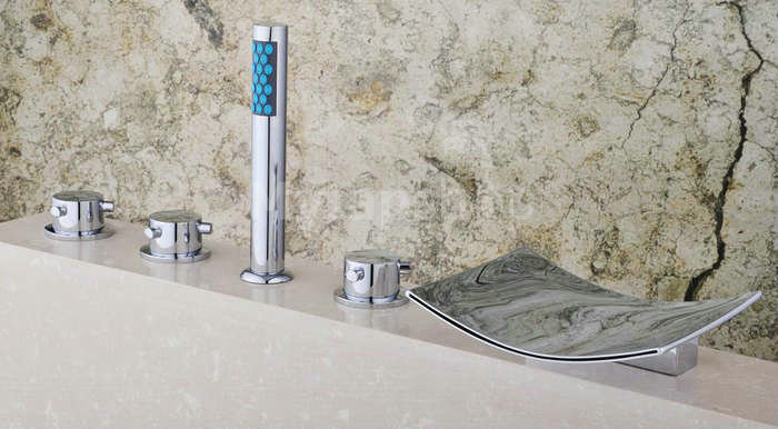 Chrome Two Handles Waterfall Widespread Tub Tap T001-18