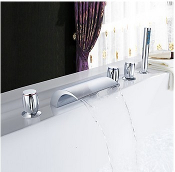 Chrome Two Handles Waterfall Widespread Tub Tap T001-19