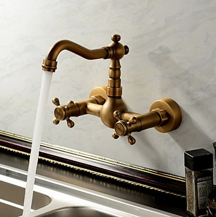 Antique inspired Kitchen Tap - Wall Mount (Antique Brass Finish) TP0415E