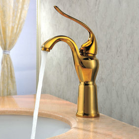 Classic Ti-PVD Finish Solid Brass Bathroom Sink Tap T0420G