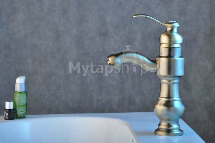 Solid Brass Bathroom Sink Tap - Nickel Brushed Finish T0427N