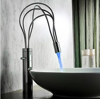Contemporary Chrome Finish Single Handle LED Bathroom Sink Tap(Tall) T0458HF