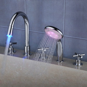 Contemporary Color Changing LED Waterfall Widespread Tub Tap with Hand Shower T0464F
