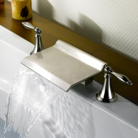 Nickel Brushed Waterfall Widespread Bathtub Tap T0476