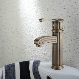 Single Handle Centerset Antique Brass Finish Wood-like Bathroom Sink Tap TP0486