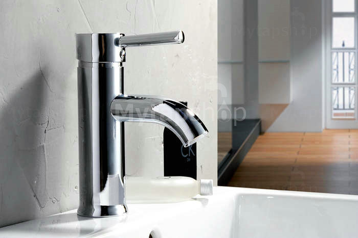 Centerset Contemporary Chrome Finished Single Handle Solid Brass Bathroom Sink Tap T0515