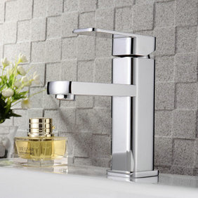 Chrome Finish Solid Brass Bathroom Sink Tap T0516