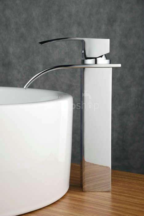 Contemporary Brass Waterfall Bathroom Sink Tap (Tall) T0517H