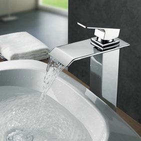 Contemporary Brass Waterfall Bathroom Sink Tap (Tall) T0518H