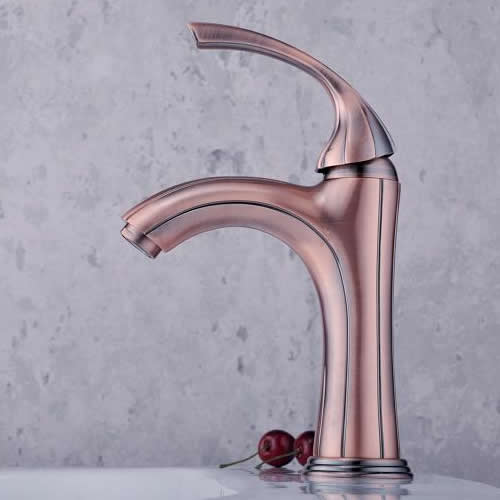 Classic Solid Brass Bathroom Sink Tap - Antique Copper Finish T0519B