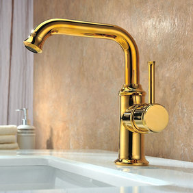 Contemporary Ti-PVD Finish Solid Brass Bathroom Sink Tap T0534G