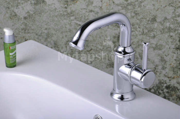 Chrome Single Handle Centerset Bathroom Sink Tap T0534