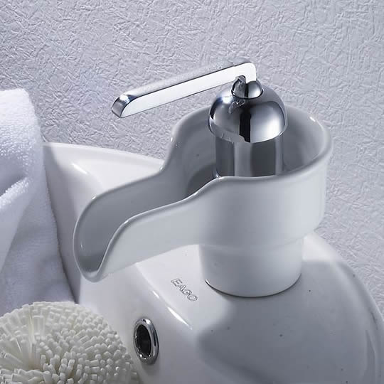 Waterfall Bathroom Sink Tap with Ceramic Spout T0538