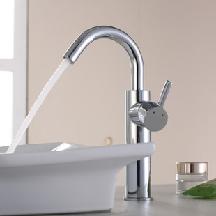 Chrome Finish Solid Brass Bathroom Sink Tap (Tall)T0542H