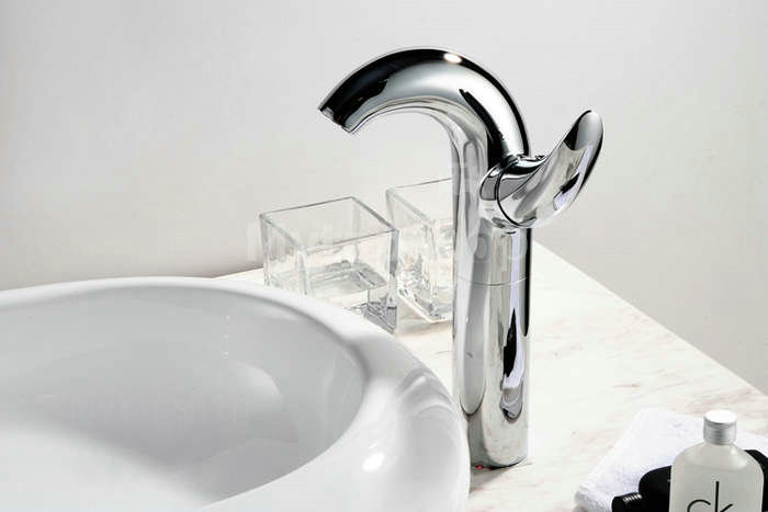 Contemporary Centerset Chrome Finish Bathroom Sink Tap Tall T0548H