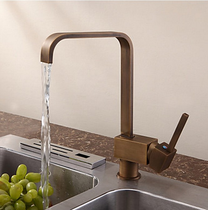 Antique Inspired Solid Brass Kitchen Tap Antique Brass Finish T0718A