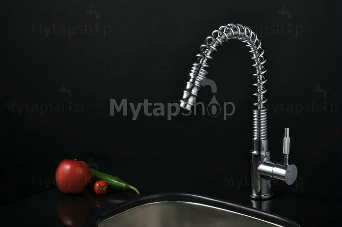 Chrome Single Handle Pull Down Centerset Kitchen Tap T0781F