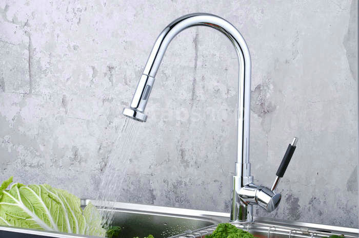 Contemporary Solid Brass Pull Down Kitchen Tap (Chrome Finish)T0784-2