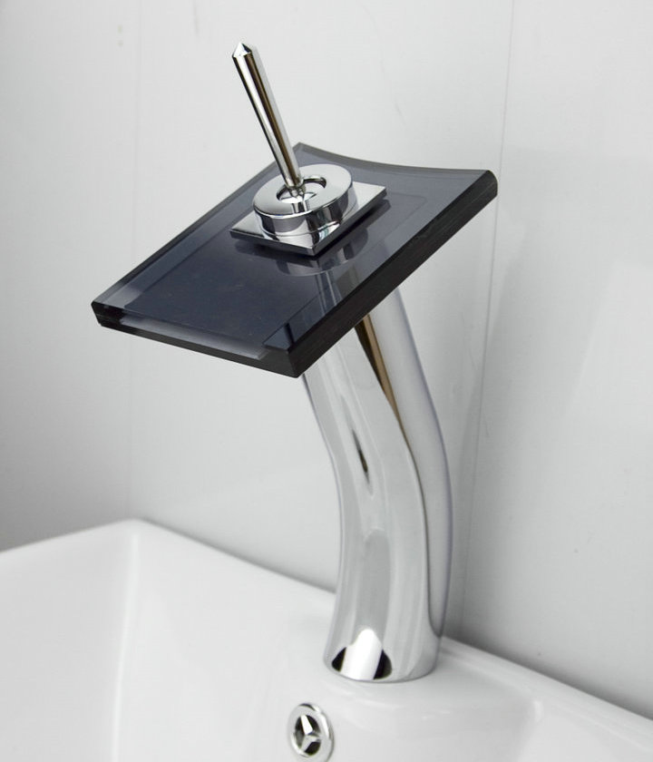 Contemporary Waterfall Bathroom Sink Tap with Glass Spout T0801BH