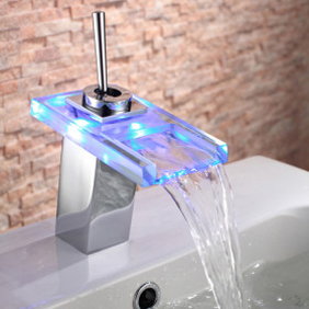 Contemporary Single Handle Chrome Waterfall LED Bathroom Sink Tap - T0818-1F