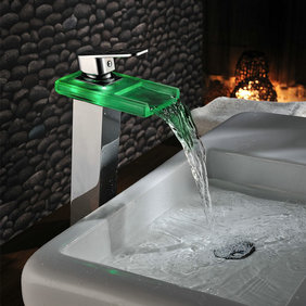 Color Changing LED Waterfall Bathroom Sink Tap (Chrome) T0818HF