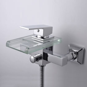 Contemporary Waterfall Tub Tap with Glass Spout (Wall Mount)T0818W