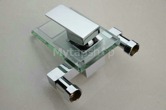 Contemporary Waterfall Tub Tap With Glass Spout Wall