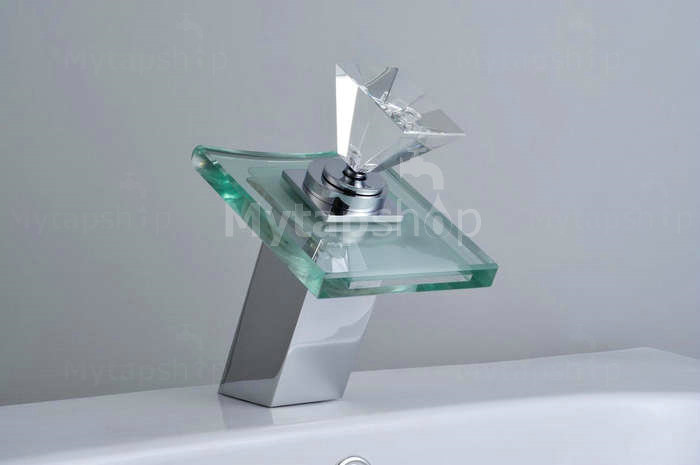 Contemporary Color Changing LED Glass Handle Waterfall Bathroom Sink Tap - T0819F