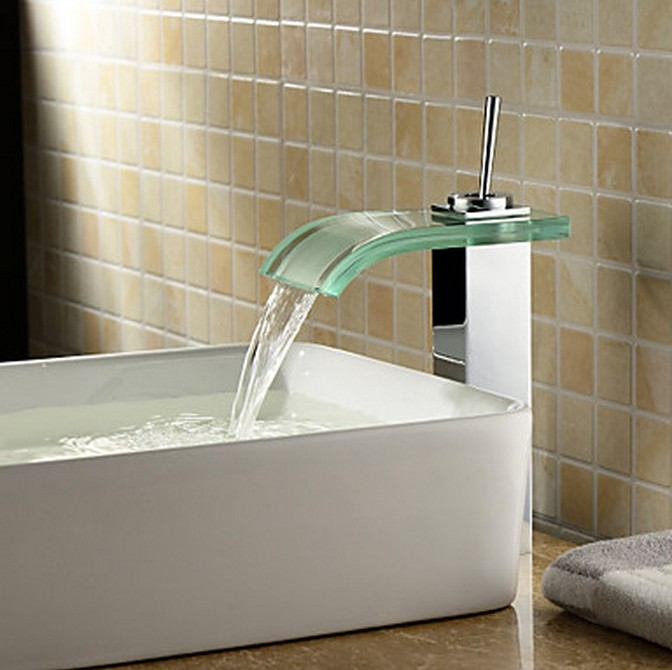 Contemporary Waterfall Bathroom Sink Tap with Glass Spout T0821