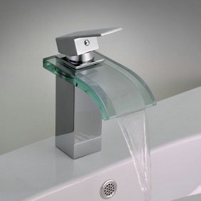 Single Handle Chrome Waterfall Bathroom Sink Tap T0822