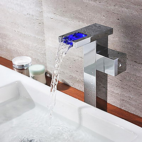 Chrome Finish Single Handle Color Changing LED Waterfall Bathroom Sink Faucet Tall T0828HF