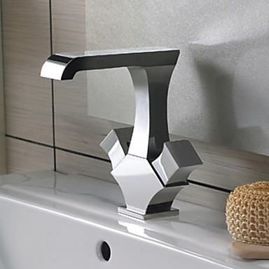 Contemporary Solid Brass Bathroom Sink Tap - Chrome Finish T1303