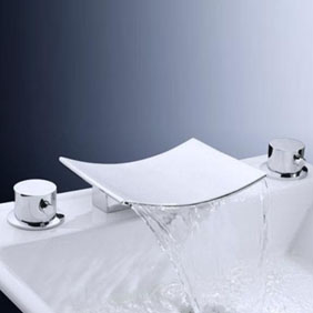 Brass Waterfall Bathroom Sink Tap with Stainless Steel Spout (Widespread) T6009