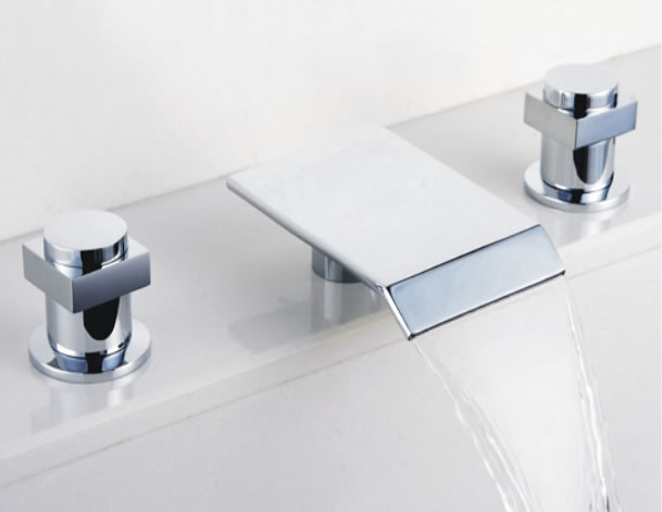 Bathroom Sink Taps : Contemporary Waterfall Bathroom Sink Tap (Chrome Finish, Widespread ...