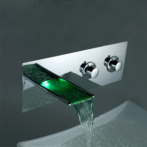 Contemporary Color Changing LED Two Handles Waterfall Widespread Bathroom Sink Tap - T8001F