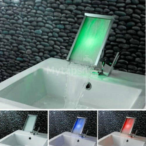 Contemporary Color Changing Led Waterfall Widespread
