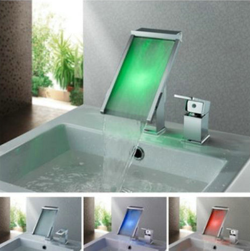 Contemporary Color Changing LED Waterfall Widespread Bathroom Sink Tap - T8002-3