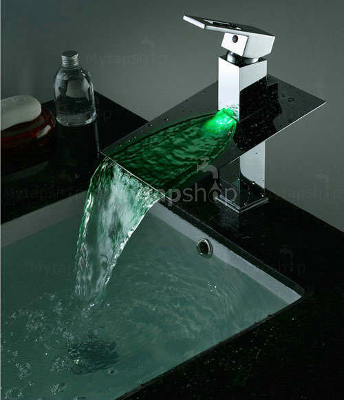 Contemporary Third Gear Cartridge Water-saving Color Changing LED Waterfall Bathroom Sink Tap - T8003B