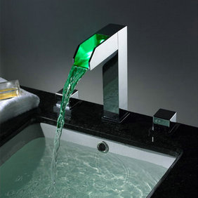 Contemporary Two Handles Chrome Waterfall LED Bathroom Sink Tap - T8005-1