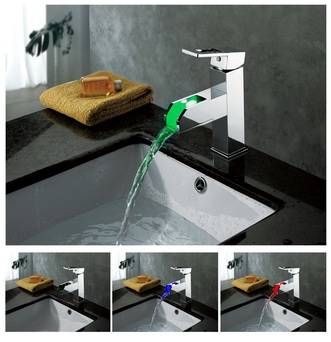 Contemporary Color Changing LED Waterfall Bathroom Sink Tap - T8005-5