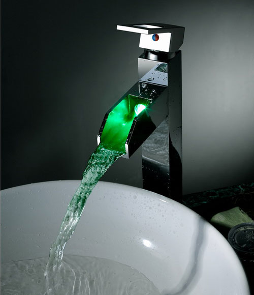 Contemporary Color Changing LED Tall Waterall Bathroom Sink Tap - T8005-5H