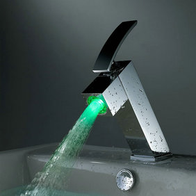 Contemporary Color Changing LED Bathroom Sink Tap - T8006