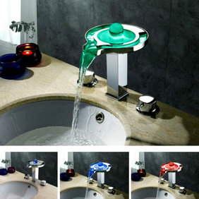 Contemporary Color Changing LED Waterfall Widespread Bathroom Sink Tap - T8008-1F