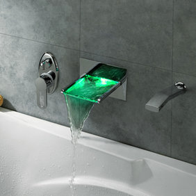 Contemporary LED Waterfall Tub Tap with Pull-out Hand Shower - T8014