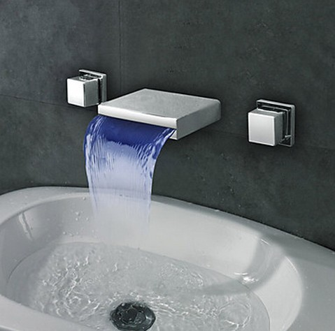 Widespread Wall Mount Waterfall 3 Colors Led Bathroom Sink