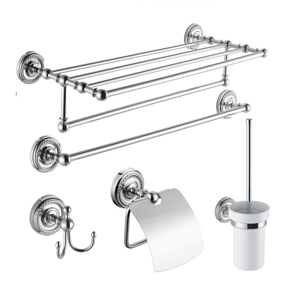 5 Piece Chrome Finish Bathroom Accessory Set BCS002