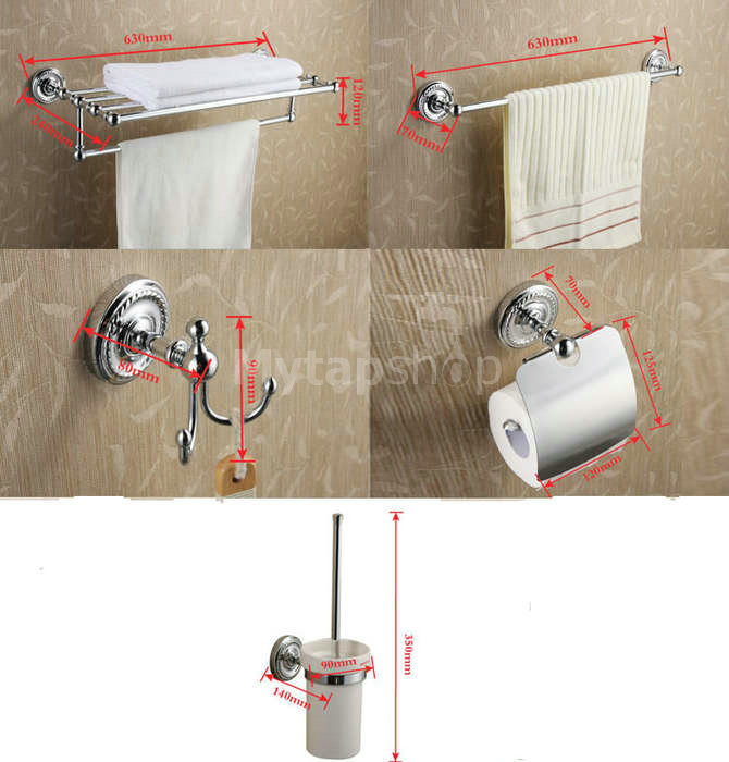 5-Piece Chrome Finish Bathroom Accessory Set BCS002
