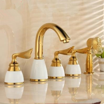 Antique Classic Golden Printed Luxury Widespread Tub Tap with Hand Shower BT0339