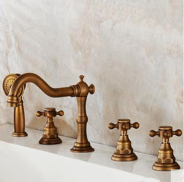 Antique Brass Five-Pieces Bathroom Bathtub Shower Mixer Taps BT0558